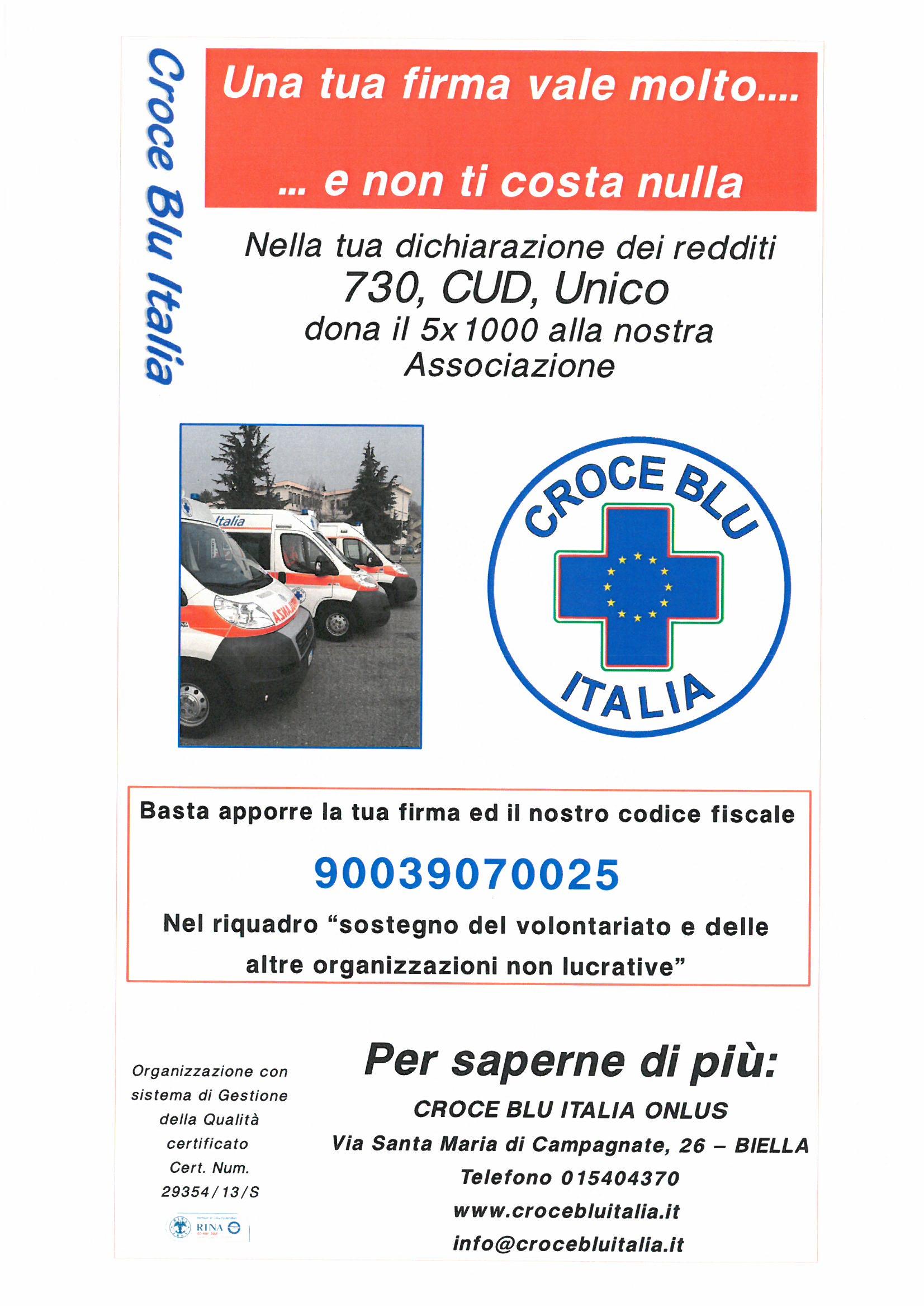 immagine notiziaDona il 5X1000 alla Croce Blu Italia