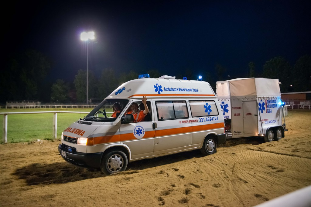 Assistenza a gara ippica con ambulanza veterinaria e rimorchio